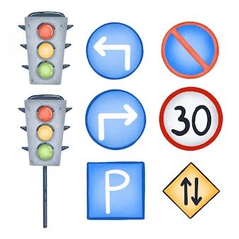 Desenhos animados sinais de trânsito e semáforo conjunto isolado
