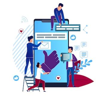 Desenhos animados sociais dos meios da ilustração do vetor lisos. closeup big smartphone