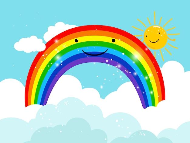 Desenhos animados sorrindo arco-íris no céu