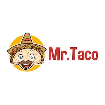 Desenhos animados sorrindo logotipo de mascote de taco