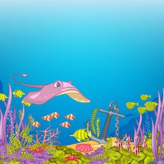 Desenhos animados subaquáticos do oceano