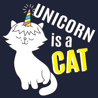Desenhos animados tirados mão do gato do unicórnio para a impressão da camisa de t