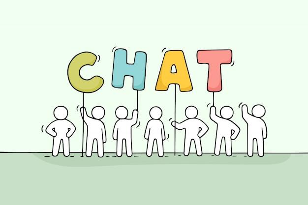 Desenhos animados trabalhando pessoas pequenas com a palavra chat.