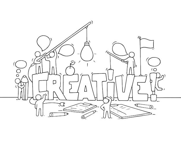 Desenhos animados trabalhando pessoas pequenas com a palavra criativa.