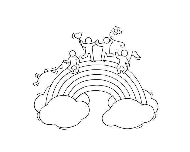 Desenhos animados trabalhando pessoas pequenas com arco-íris.