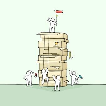Desenhos animados trabalhando pessoas pequenas com grande pilha de papel.