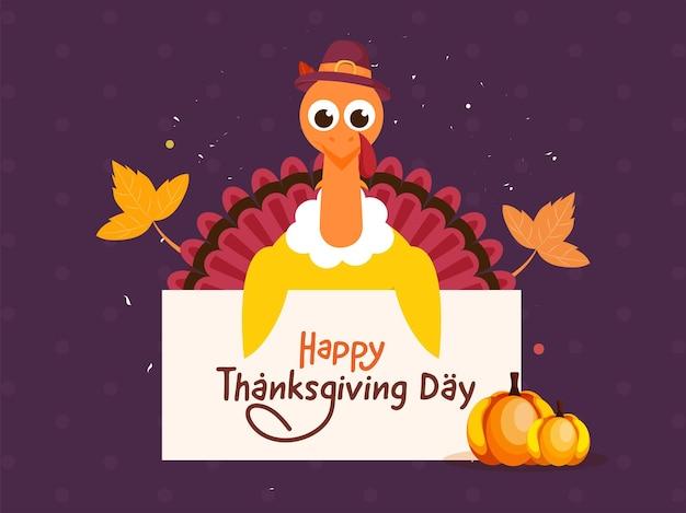 Desenhos animados turquia pássaro mostrando papel de mensagem de feliz dia de ação de graças e abóboras em fundo roxo.