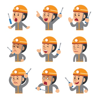 Desenhos animados um técnico mostrando diferentes emoções