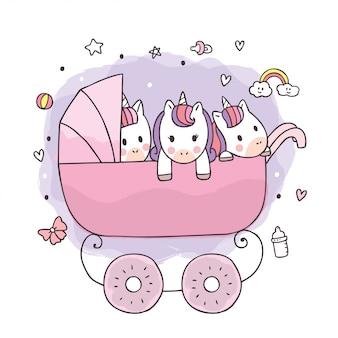 Desenhos animados unicórnios adorável bebê fofo no carrinho.