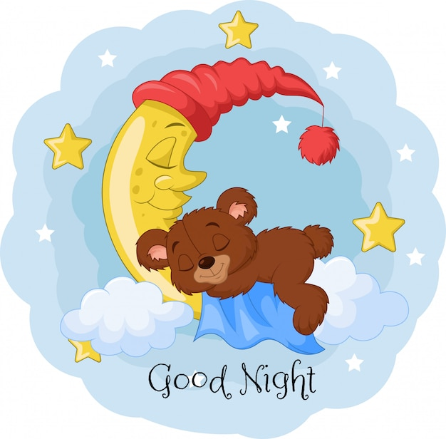 Desenhos animados ursinho de dormir na lua