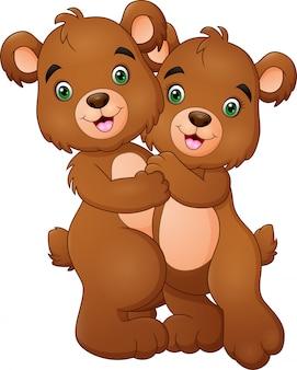 Desenhos animados urso feliz casal abraçando