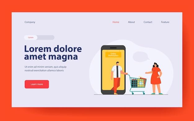 Desenhos animados usando o mercado on-line para fazer compras na página de destino em estilo simples