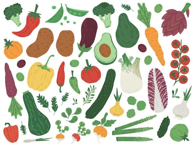 Desenhos animados vegetais orgânicos abacate, cenoura, tomates, doodle conjunto de vetores