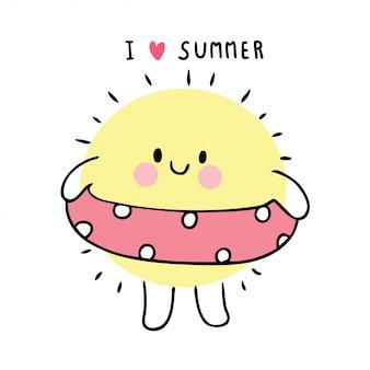 Desenhos animados verão bonito, sol jogando anel de natação.