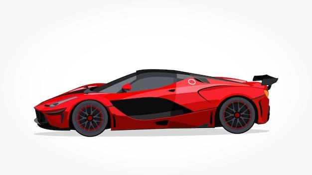 Desenhos animados vermelhos de carros esportivos com efeito detalhado de lado e sombra