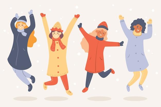 Desenhos animados, vestindo roupas de inverno e pular no ar