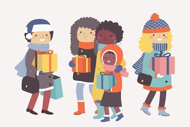 Desenhos animados, vestindo roupas de inverno e segurando presentes