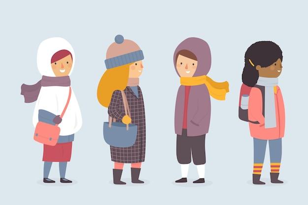 Desenhos animados, vestindo roupas de inverno em fundo azul