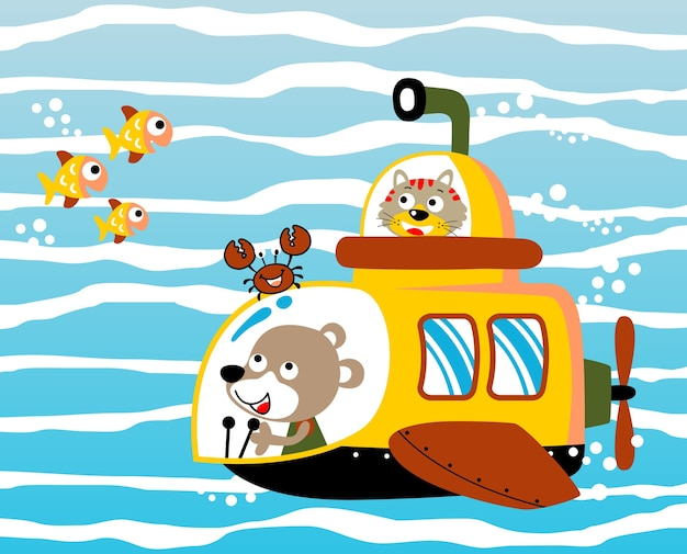 Desenhos animados vetoriais submarinos