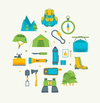 Desenhos animados viajando acampar e caminhadas redondo design modelo ícones definir estilo de design plano de lazer de verão ao ar livre.