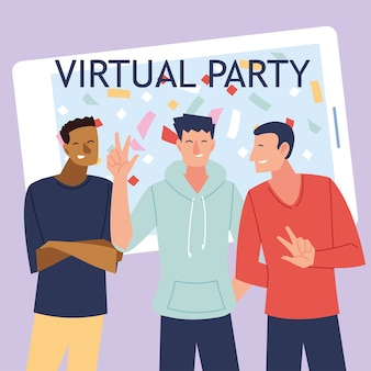 Desenhos animados virtuais de homens na frente do design do smartphone, feliz aniversário e bate-papo por vídeo