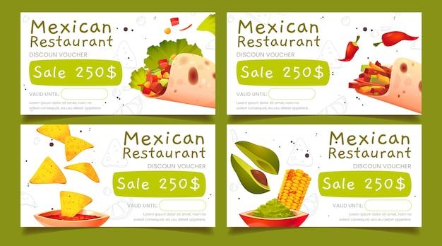 Desenhos animados vouchers de restaurante mexicano