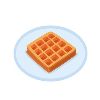 Desenhos animados waffle assado na placa isolada no fundo branco. ilustração em vetor cor de padaria, boa para etiqueta de cartaz e loja de padaria de menu.