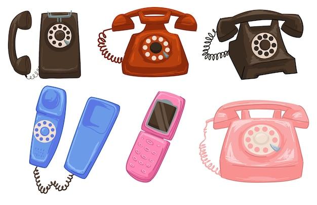 Desenhos antiquados de telefones com fios e cabos. células isoladas retro e vintage, telecomunicação e conexão, equipamentos e dispositivos para ligações de longa distância. vetor em estilo simples