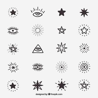 Desenhos bonitos de símbolos e estrelas