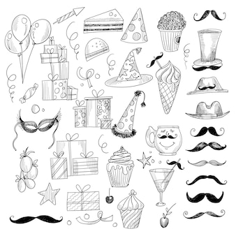 Desenhos bonitos sobre o tema do design da festa de aniversário