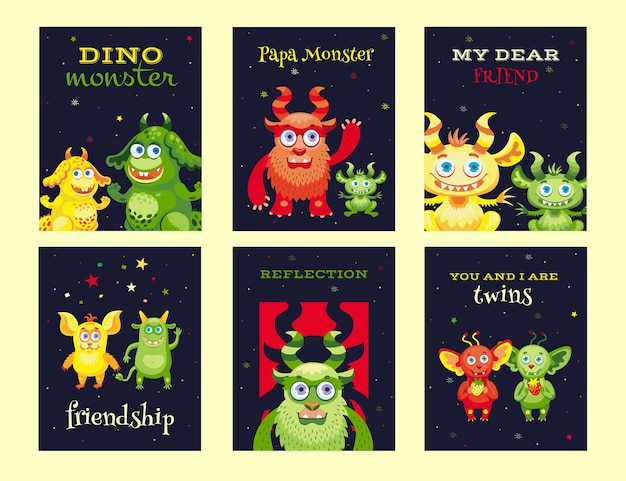 Desenhos criativos de folhetos com monstros amigáveis. variedade de mascotes engraçados em fundo escuro. celebração e conceito de festa de halloween. modelo para folheto promocional ou folheto
