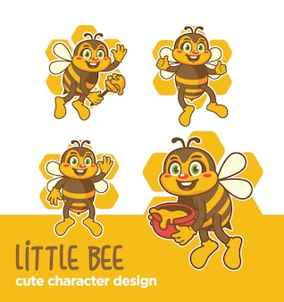 Desenhos de abelha de mascote ou adesivo