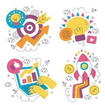 Desenhos de adesivos de marketing desenhados à mão