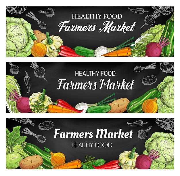 Desenhos de alimentos com vegetais frescos, banners em quadro-negro