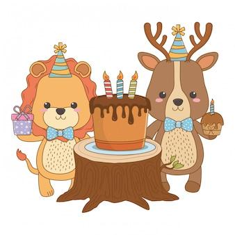 Desenhos de animais com bolo de feliz aniversário