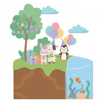 Desenhos de animais com feliz aniversário