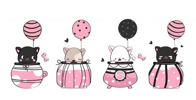 Desenhos de animais fofos mão desenhada animal de estimação segurando um balão