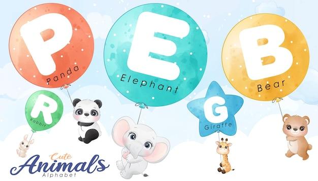 Desenhos de animais fofos voando com um conjunto de ilustração de balão