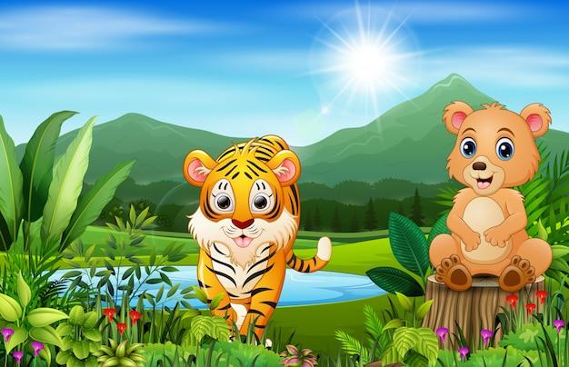 Desenhos de animais selvagens com belas paisagens verdes