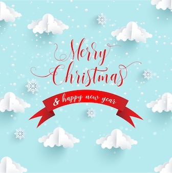 Desenhos de arte de papel para o inverno. feliz natal. estilo de arte em papel