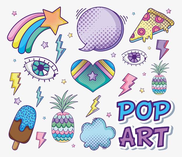 Desenhos de arte pop vector design gráfico ilustração