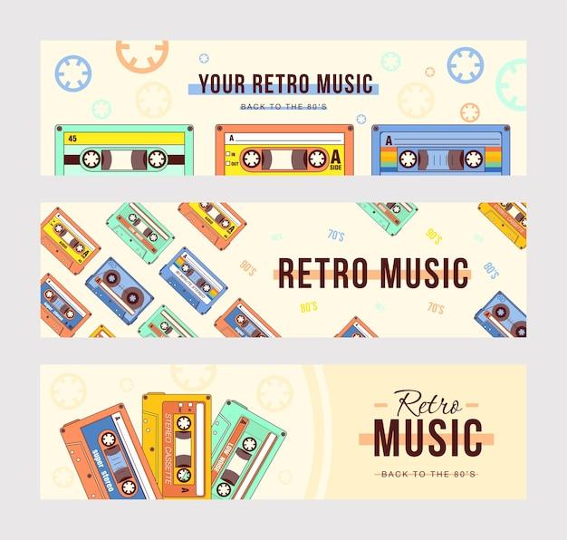 Desenhos de banners criativos com cassetes compactos.