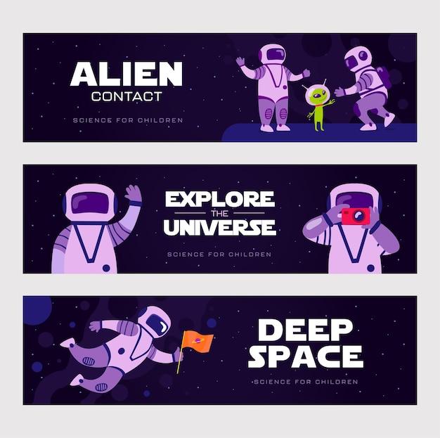 Desenhos de banners criativos com cosmonautas engraçados