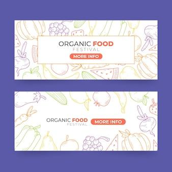 Desenhos de banners de alimentos orgânicos