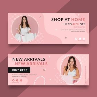 Desenhos de banners de compras online