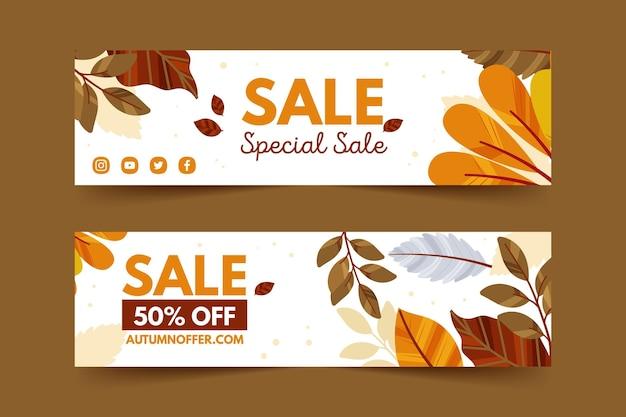 Desenhos de banners de venda de outono