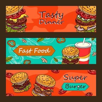 Desenhos de banners promocionais para restaurantes de fast food.