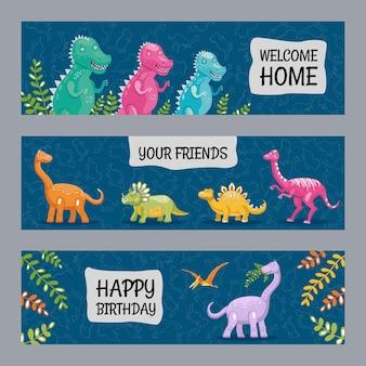Desenhos de banners vívidos com dinossauros alegres