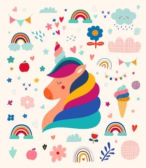 Desenhos de bebês com um lindo unicórnio. padrão de animais do bebê. ilustração vetorial com lindo unicórnio. ilustração do bebê do berçário