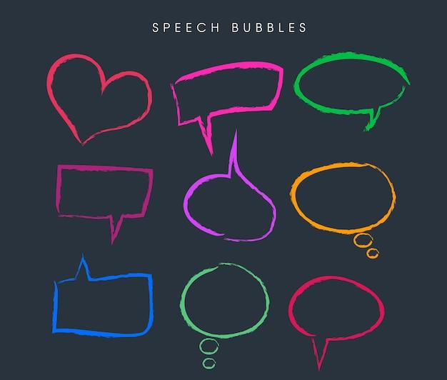 Desenhos de bolha do discurso colorido moderno